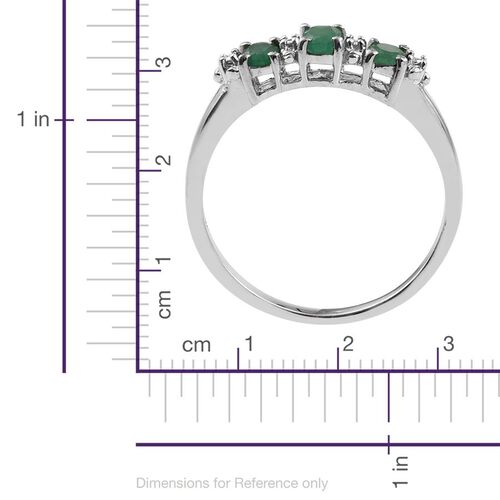 Kagem Zambian Emerald (Ovl) Trilogy Ring, Pendant and Stud Earrings (with Push Back) in Platinum Overlay Sterling Silver 1.250 Ct.