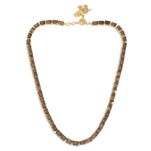 AAA Brazilian Smoky Quartz (Oct), Rare Swiss Marcasite Elephant Charm Necklace (Size 18) in 14K Gold Overlay Sterling Silver 50.750 Ct.