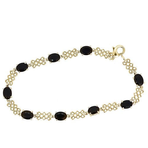 Boi Ploi Black Spinel (Ovl) Bracelet in 14K Gold Overlay Sterling Silver (Size 7) 9.000 Ct.
