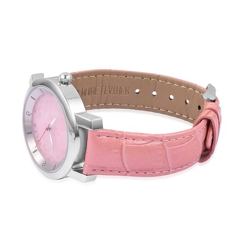 Last in Stock - EON 1962 Swiss Movement Pink Jade Dial 3ATM Water Resistent Watch with Genuine Leather Strap 25.000 Ct.