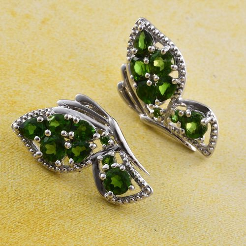 Russian Diopside (Ovl) Earrings (with Push Back) in Platinum Overlay Sterling Silver 2.500 Ct.