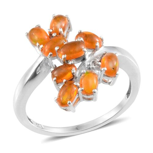Orange Ethiopian Opal (Ovl), White Topaz Ring in Platinum Overlay Sterling Silver 1.270 Ct.