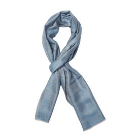 100% Cashmere Wool Blue and Grey Colour Reversible Scarf with Fringes (Size 200X70 Cm)