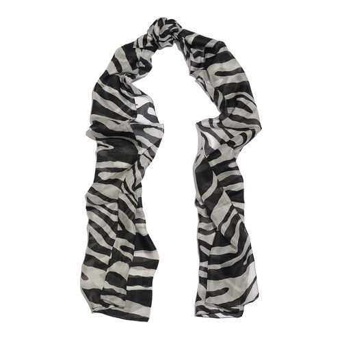 100% Mulberry Silk Black and White Colour Handscreen Zebra Printed Scarf (Size 180X50 Cm)