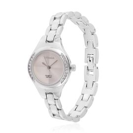 STRADA Japanese Movement White Austrian Crystal Studded Watch in Silver Tone with Stainless Steel Back