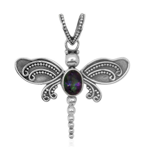 Royal Bali Collection Northern Lights Mystic Topaz (Ovl) Dragonfly Pendant in Sterling Silver.