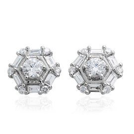 Limited Edition - RHAPSODY 950 Platinum IGI Certified Diamond (Rnd and Bgt) (VS/E-F) Stud Earrings (with Screw Back) 1.000 Ct.