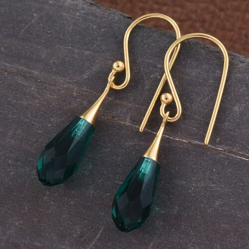J Francis Crystal from Swarovski - Emerald Colour Crystal Drop Hook Earrings in 14K Gold Overlay Sterling Silver