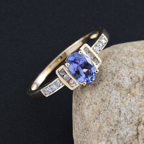 9K Yellow Gold 0.87 Ct AA Tanzanite Ring with Natural Cambodian Zircon