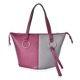 Burgundy and Grey Colour Tote Bag with External Zipper Pocket (Size 44x30x27x20)
