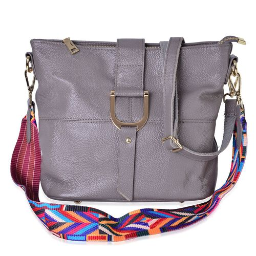 Genuine Leather Dark Grey Colour Shoulder Bag (Size 29x26x23x13 Cm) with External Zipper Pocket and Multi Colour Removable Shoulder Strap
