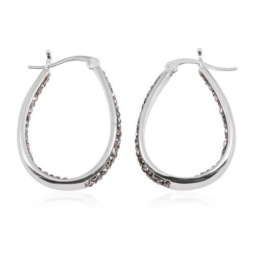 Grey Austrian Crystal Hoop Earrings (with Clasp) in Silver Bond