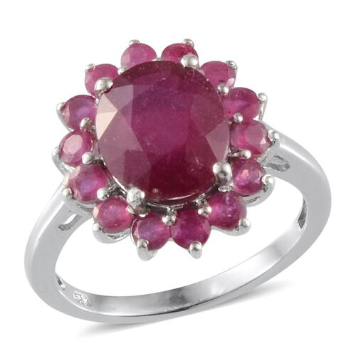 African Ruby (Ovl 4.50 Ct) Ring in Platinum Overlay Sterling Silver 6.000 Ct.