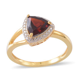Mozambique Garnet (Trl) Solitaire Ring in 14K Gold Overlay Sterling Silver 2.000 Ct.