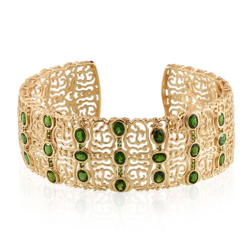 Russian Diopside (Ovl) Cuff Bangle (Size 7.5) in 14K Gold Overlay Sterling Silver 8.750 Ct.