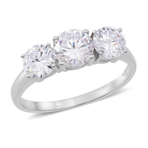 ELANZA AAA Simulated Diamond (Rnd) 3 Stone Ring in Rhodium Plated Sterling Silver