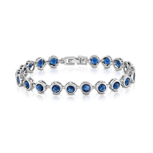Designer Inspired AAA Simulated Ceylon Sapphire (Rnd) Bracelet (Size7) in Silver Bond