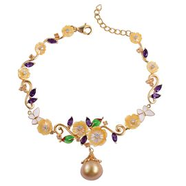 Jardin Collection - South Sea Golden Pearl (Rnd 12-12.5mm), Amethyst and Multi Gemstone Butterfly and Flower Bracelet (Size 7 with 1 inch Extender) in Yellow Gold Overlay Sterling Silver
