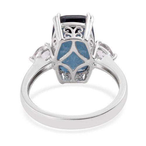 Indicolite Quartz (Cush 8.75 Ct), White Topaz Ring in Platinum Overlay Sterling Silver 9.500 Ct.