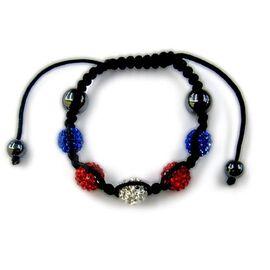 Hematite, Red, White and Blue Austrian Crystal Bracelet (Adjustable)