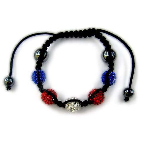 Hematite, Red, White and Blue Austrian Crystal Bracelet (Adjustable)