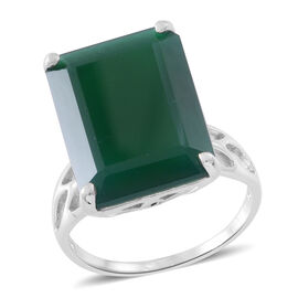 Very Rare Size AAA Verde Onyx (Oct) Ring in Rhodium Plated Sterling Silver 17.750 Ct.