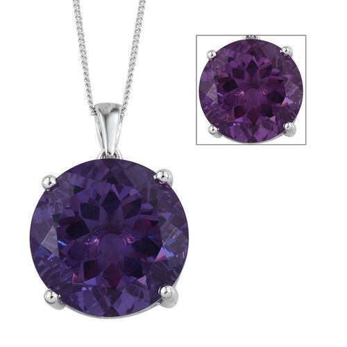 Lavender Alexite (Rnd) Pendant With Chain in Platinum Overlay Sterling Silver 19.500 Ct.