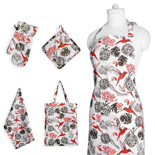 Kitchen Textiles - 100% Cotton Red, White and Mud Colour Birds and Leaves Printed Apron (75x65 Cm), Glove (32x18 Cm), Pot Holder (20x20 Cm), Kitchen Towel (65x40 Cm) and Bag (45x35 Cm)