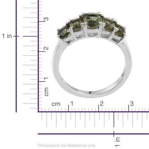 Bohemian Moldavite (Ovl 0.60 Ct) 5 Stone Ring in Platinum Overlay Sterling Silver 2.000 Ct.