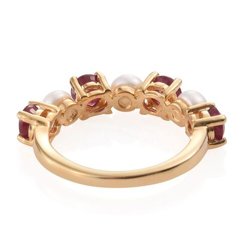 African Ruby and White Pearl 2.75 Ct Silver Stack Ring in Gold Overlay