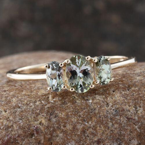 9K Y Gold AA Natural Green Tanzanite (Ovl 0.50 Ct) 3 Stone Ring 1.000 Ct.