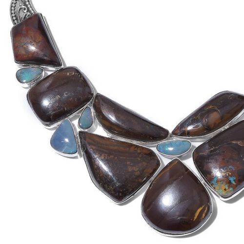 One Off A Kind- Australian Boulder Opal Rock and Opal Double Necklace (Size 18) in Sterling Silver 263.050 Ct. Silver wt 34.69 Gms.