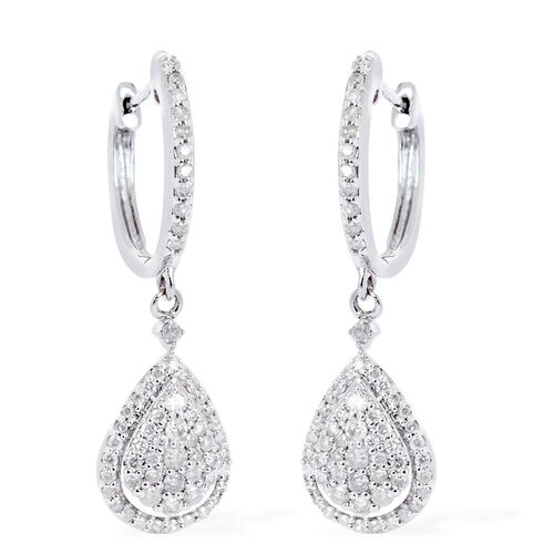 9K White Gold SGL Certified Diamond (Rnd) (I3/G-H) Earrings 0.500 Ct.