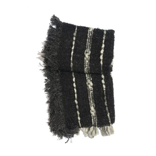 Black Colour Shawl with Fringes at the Bottom (Free Size)