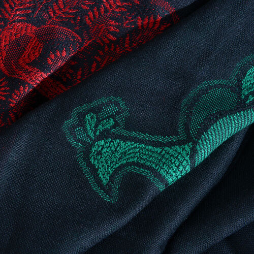 Black, Green and Multi Colour Peacock Pattern Scarf with Tassels (Size 200X70 Cm)