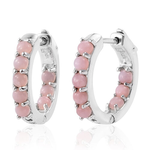 Peruvian Pink Opal (Rnd) Hoop Earrings (with Clasp Lock) in Rhodium Plated Sterling Silver 0.952 Ct. Silver wt 6.00 Gms.