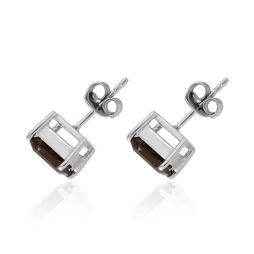 Brazilian Smoky Quartz (Sqr) Stud Earrings (with Push Back) in Platinum Overlay Sterling Silver 2.750 Ct.