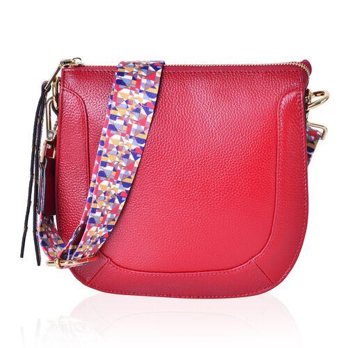 100% Genuine Leather Red Colour Crossbody Bag with Colourful Removable Shoulder Strap (Size 22X20X8 Cm)