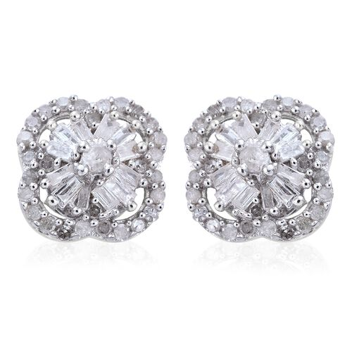 Diamond (Rnd) Flower Stud Earrings (with Push Back) in Platinum Overlay Sterling Silver 0.500 Ct.