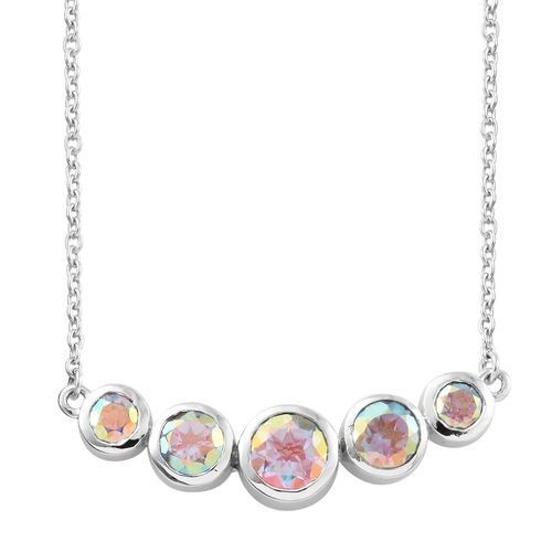 Mercury Mystic Topaz (Rnd) Necklace (Size 18) in Platinum Overlay Sterling Silver 2.750 Ct.