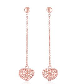 RACHEL GALLEY Rose Gold Overlay Sterling Silver Amore Heart Lattice Drop Earrings (with Push Back), Silver wt 5.78 Gms.