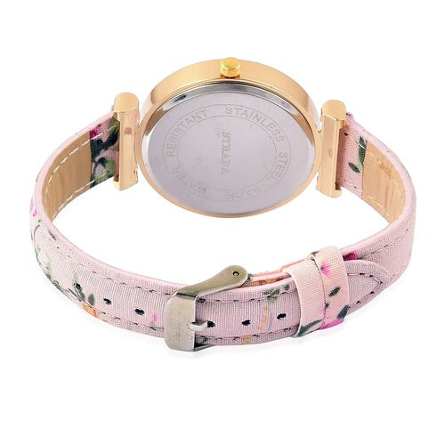 STRADA Japanese Movement White Dial with White Austrian Crystal Water Resistant Watch in Gold Tone with Stainless Steel Back and Pink Colour Floral Strap