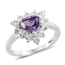 Amethyst (Trl 7mm), Natural Cambodian Zircon Ring in Sterling Silver 2.000 Ct.
