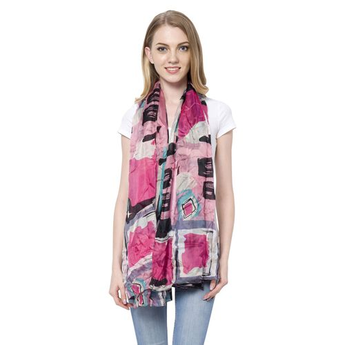 100% Mulberry Silk Pink, Blue and Multi Colour Oblong Pattern White Colour Scarf (Size 180x110 Cm)