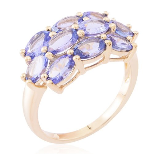 Designer Inspired- 9K Yellow Gold Tanzanite (Ovl) Cluster Ring 4.250 Ct.