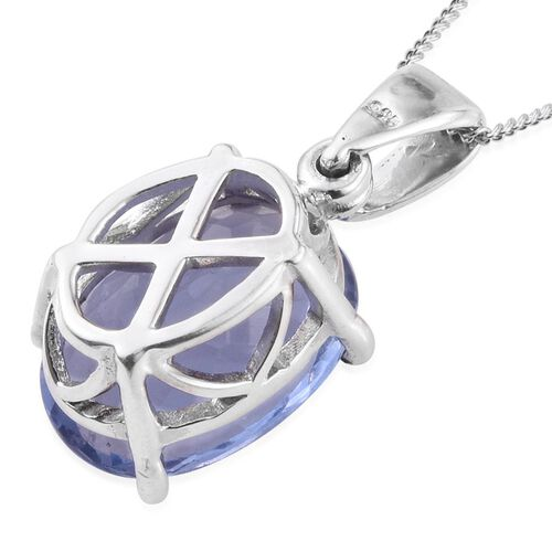 Colour Change Fluorite (Ovl) Solitaire Pendant With Chain in Platinum Overlay Sterling Silver 7.250 Ct.