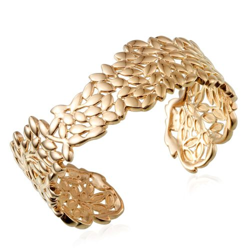 14K Gold Overlay Sterling Silver Olive Leaves Cuff Bangle (Size 7.5), Silver wt 53.00 Gms.