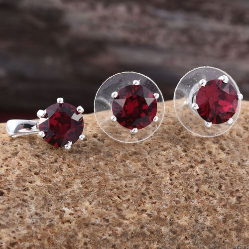 J Francis Crystal from Swarovski - Ruby Colour Crystal (Rnd) Solitaire Pendant and Stud Earrings (with Push Back) in Sterling Silver