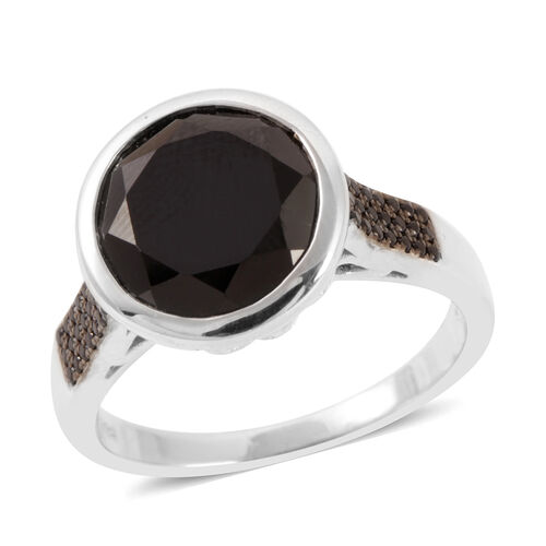 Boi Ploi Black Spinel (Rnd 7.25 Ct) Ring in Rhodium Plated Sterling Silver 7.500 Ct.
