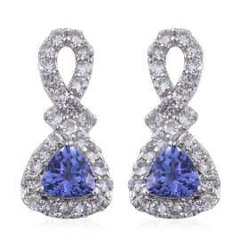 9K W Gold AA Tanzanite (Trl), Natural Cambodian Zircon Earrings (with Push Back) 1.500 Ct.